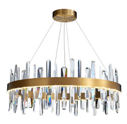 Crystal Rod Gold Chandelier Circle Mid Century Style Led Hanging Light Fixture
