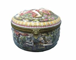 Naples Porcelain Box With Putti And Women C. 1900 Hinged Lid Lionand039s Head Clasp