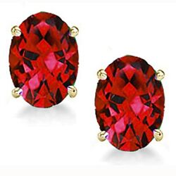Genuine Ruby Oval Earrings In 14k Gold With Certificate Blowout Sale