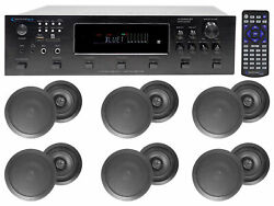 6000w 6 Zone, Home Theater Bluetooth Receiver+12 Black 6.5 Ceiling Speakers