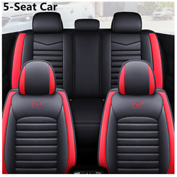 Full Set Black/red Pu Leather Car Seat Covers Cushion For Standard 5-seats Autos