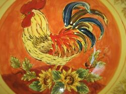 Maxcera-beautifully Hand Painted-serving Dish-orange Rooster12 Round Retired