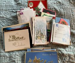 Lot Of 150+ Vintage Mcm Christmas Cards, Used, Well Kept 60's 70's