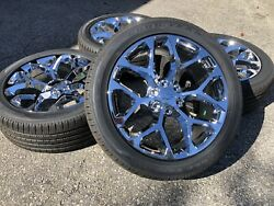 22 Chrome Snowflake Chevy Silverado Tahoe Suburban Ck156 Wheels Rims Tires