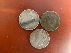 Lot Of 3 Pre 2- Morgan And 1-peace Silver Dollars Marked Usa On All