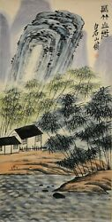 Vintage Chinese Watercolor Mountain House Wall Hanging Scroll Painting Qi Baishi
