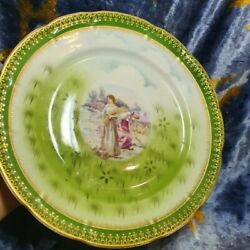 Antique Kuznetsov Factory Moscow Imperial Russian Porcelain Plate, Rare,marked