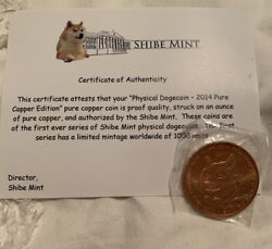 Official 2014 Dogecoin Physical Copper Edition Shibe Mint