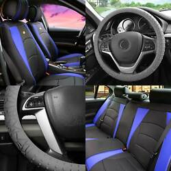 Black Blue Leatherette Seat Cushion Full Set Covers W/ Gray Steering Cover