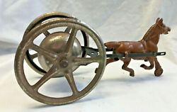 Antique Cast Iron Push/pull Toy Horse Cart Bell Noisemaker Working