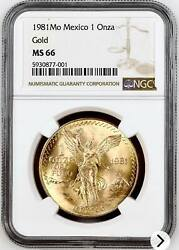 Ngc Ms66 1981-mo Mexico Gold 1 Onza Libertad Gem Bu Coin With Nice Bright Luster