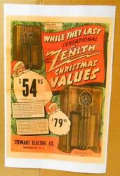 1938 Zenith Radio Color Ad 11x17 Card Stock Models 6s254 5s250