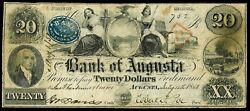 1850 Augusta, Georgia 20 Dollar Obsolete Bank Note Cut Cancelled And Bank Stamp