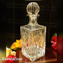 Vintage Crystal Decanter Heavy With Ball Stopper Barware Liquor Holder