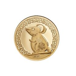 Gold Coin Year Of The Mouse 2020 Mongolia 9999 Au W/coa And Box Mouse