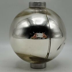 Vintage Silver Mercury Glass Mirrored Lightning Rod Ball With Caps