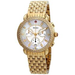 Michele Sidney Diamond Bezel Gold Plated Stainless Steel Gold Tone Watches 2408