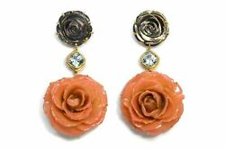 Bahina - Flowers - Drop Earrings - Mother Of Pearl Blue Topaz Real Pink Roses
