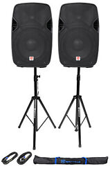 2 Rockville Spgn104 10 Passive 800w Abs Plastic Pa Speakers+stands+cables+bags