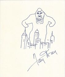Fay Wray Actress Hand-signed King Kong Doodle Caricature Illustration Drawing