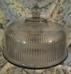Vintage Heavy Clear Ribbed Glass Dome Covered Pedestal Cake Plate Stand Platter