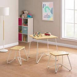 Kids 3-piece Finn Metal Frame Play Table And Stool Set, White By Mainstays