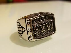 Menand039s Stainless Steel Size 9 Ftw Ring Outlaw Middle Finger Up New