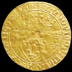 1461 -1483 Medieval Gold France Ecu Dand039or La Couronne King Louis Xi Coin