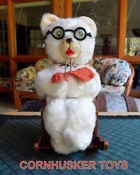 Vintage Masudaya Battery Operated Knitting Mother Bear Complete Excellent 👀