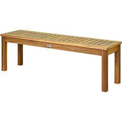 52 Outdoor Acacia Wood Dining Bench Chair With Slatted Seat For Patio Garden