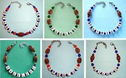 Anklet Or Bracelet Football 9 - 11 Jewelry Cube Beads No Plastic Choose Team