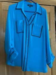 Womens Relativity Blouse-2x-blousy-w/trim-button Up Sleeve