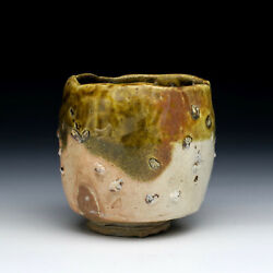 Chuck Hindes Tea Bowl 4.25h Wood Fired American Studio Pottery Mid 1990and039s