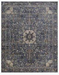 New 9and039 X 12and039 Turkish Navy Blue And Taupe Loomed Mosaic Medallion Oriental Area Rug