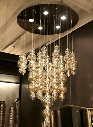 New Circular Suspension Chandelier Pendant With Champagne Blown Glass Spheres