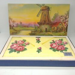 Vintage Cannon Terry Cloth Towel 4 Pc Set Gold Rose Spray Nos Windmill Artwork