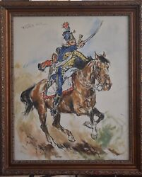 Pal Fried Large Oil Painting On Canvas Original, French Hussard