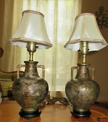 2 Ea. Pair Vintage Oriental Chinese Cast Iron Table Lamps W/ Shades