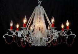 Unique 36 X24 Vintage Red Crystal Bead 9 Light Wrought Iron Silver Chandelier