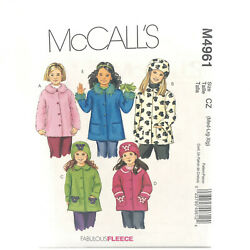 Mccalls 4961 Girls Unlined Coats And Hats Size M Xl Uncut Sewing Pattern
