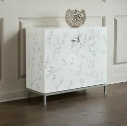 New Horchow White Bale Liquor Bar Cabinet And Wine Hutch Silver Dragonfly Hardware