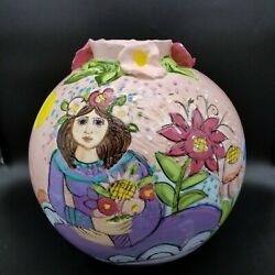Sue Bolt Pottery Charlevoix, Mi Large 11.5 Pink Vase, Woman With Flowers Chip
