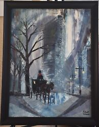 New York City Flat Iron Building Oil Painting By Robert Lebron