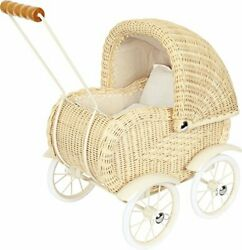 Small Foot Wooden Toys Baby Doll Classic Vintage Wicker Pram Designed For Chi...