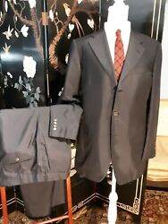 Lanvin Men's Suit Blue Silk 3-button 37r 33.5w X 30l Made In Italy Recent