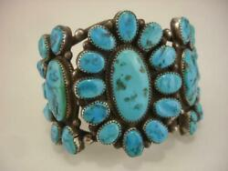 Antique Old Pawn Navajo Turquoise Sterling Silver Cluster Bracelet Cuff Massive