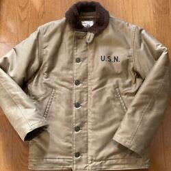 The Real Mccoy's N-1 Deck Jacket Khaki Cotton Size 38 New From Japan