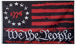 Betsy Ross 1776 We The People Black And Red Usa American Flag 3x5ft Banner