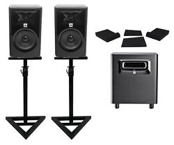 2 Jbl 306p Mkii 6 Powered Studio Monitors+stands+pads+powered Subwoofer Sub