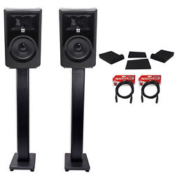 2 Jbl 306p Mkii 6 Powered Studio Monitors+stands+isolation Pads+xlr Cables